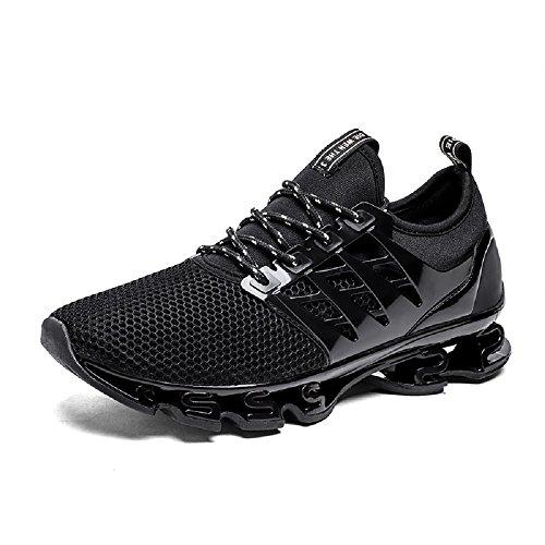 NEOKER Zapatillas Running Hombre Sneakers Calzado Deportivo Aire Libre y Deporte Gimnasia Respirable Negro 43