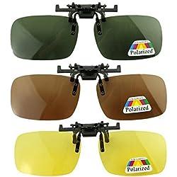 Goldfox® Lot de 3 paires de lunettes de soleil polarisantes clipsables unisexes adaptées aux myopes et à la vision nocturne