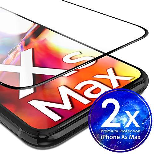 UTECTION 2X Full Screen Schutzglas 3D für iPhone XS MAX - Perfekte Anbringung Dank Rahmen - Premium Displayschutz 9H Glas - Kompletter Schutz Vorne - Folie Schutzfolie Schutzglasfolie Ultra Clear Clear Screen Guard Protector
