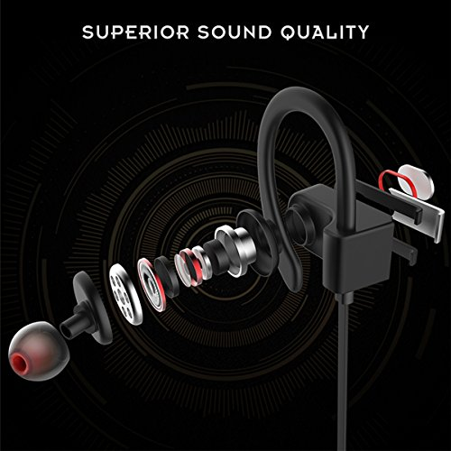 Honstek H9 drahtlose Bluetooth 4.1 Sport Kopfhörer / Headsets / Ohrhörer / Kopfhörer mit Mikrofon für Gym, Rennen, Jogger, Wandern, Übung für iPhone, Samsung, Galaxy, Android Handys, Bluetooth Smart TV (Schwarz/Grau) - 2