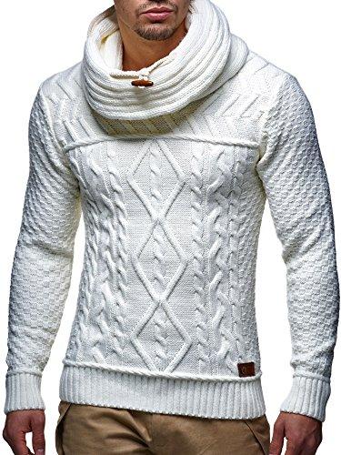 LEIF NELSON Herren Pullover Strickpullover Hoodie Hoody LN7025F Weiss/Beige