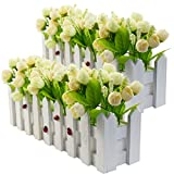 XONOR Artificial Flower Plants - Roses and Rosebuds in Picket Fence Pot for Indoor Outdoor Office Garden Wedding Home Decor (2 Sets, Light Green& Champagne)