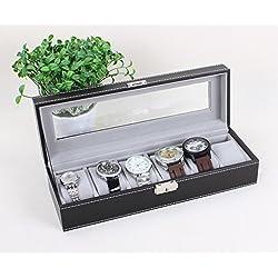 Leder Uhrenkoffer für 6 Uhren Uhrenbox Schaukasten Uhrenkasten Uhrenvitrine Uhrenschatulle