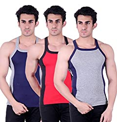 Zimfit Gym Vest - Pack of 3 (Grey_Red_Blue_34)