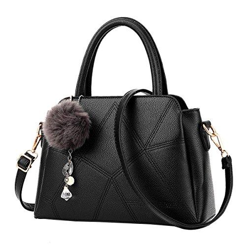 MeiZiWang PU-Leder-Handtasche Frau Tragbaren MeiZiWang Black