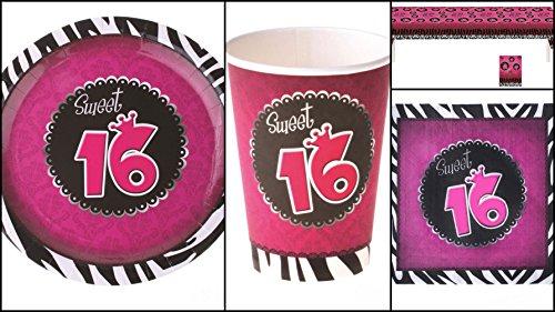Karneval-Klamotten Tisch Deko Geburtstag 16 Sweet Sixteen Party-Geschirr Teller Becher Servietten 8 Personen und Tischdecke Party Set 37 Teile pink schwarz