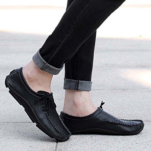 ZXCV Scarpe all'aperto Scarpe da uomo in pelle casual di tendenza traspirante in morbida pelle di guida Nero