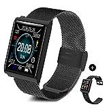 TECKEPIC N98 Montre Connectée Smartwatch Bracelet Connecté Trackers d'activité Podomètre Distance Calories Cardiofréquencemètre iPhone Samsung Android iOS Smartphone (Noir&Noir)