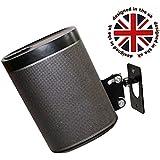 SONOS PLAY 1 Montaje de pared, ajustable con mecanismo de giro e inclinación, soporte individual para el altavoz PLAY:1 con accesorios de montaje, negro, diseñado en el Reino Unido por Soundbass®