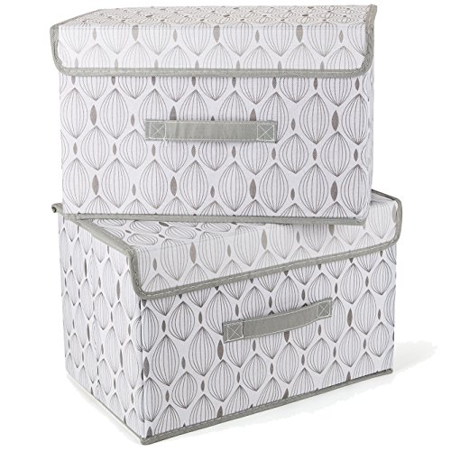 Aufbewahrungsbox mit deckel 2er-Set,SELLIVE Vliesstoff faltbar mit Griffe Korb Würfel Organizer Boxen Container storage universell einsetzbar als aufbewahrungsbox groß in kinderzimmer bro wohnzimmer