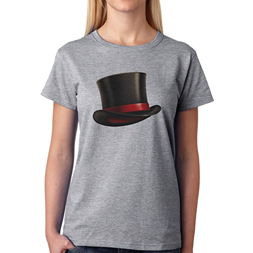 Brown Top Hat Red Circle Damen T-Shirt Grau