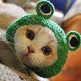 Zanteca - Gorro de punto para mascota, diseño de rana, color verde