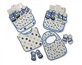 Lot de 4bavoirs pour bébé garçon et chaussettes Coffret cadeau Bleu