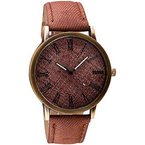 LHWY Retro Moda Reloj De Pulsera De Cuero Banda Reloj De Cuarzo Analogico Vaquero (F)