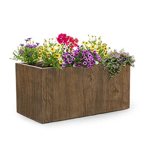 Blumfeldt timberflor vaso per piante fiori fioriera posizionamento libero nessun foro di drenaggio dell'acqua fibra di vetro stabile per interni/esterni effetto legno 80 x 40 x 40 cm (lxaxp) marrone