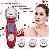 Ultraschallgerät Ionen Import Photon Therapie Schönheitsgerät für Anti-Aging Skin Lifting Anti-Falten Anti-Aging und Akne (Rot)