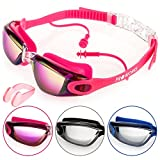 Kids Goods Best Deals - Proworks Swimming Goggles with Mirrored Lenses, UV Protection and Anti-Fog Coating - for Adults, Children, Men, Women, Kids | Fully Adjustable - Pink