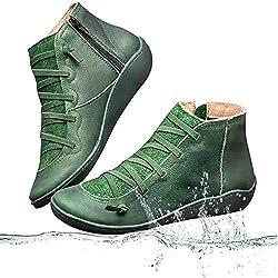 Cuero medieval la ayuda de arco bota del tobillo botas cortas de las mujeres del talón del resbalón impermeable plana en Damen de la Ronda del dedo del pie del tobillo botas de invierno,Verde,37
