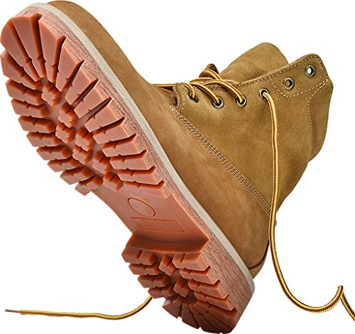 Gaatpot Unisex-Erwachsene Winterstiefel Kurzschaft Winterschuhe Stiefel Schnür Leder Stiefeletten Winter Combat Boots Schuhe Braun 41 EU