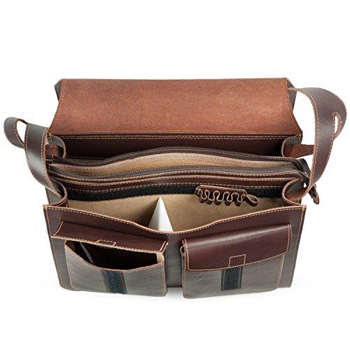 Große Aktentasche / Lehrertasche aus Leder, für Damen und Herren, Braun, Jahn-Tasche 676