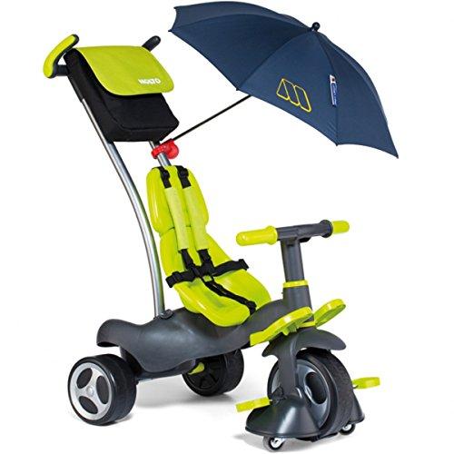 Dreirad 5 in 1 mit abnehmbarer Doppel Schiebestange, Gurt , Mitwachsendes Kinderfahrzeug mit 360° Flüster Reifen, Pedal Freilauf, mit Lenkblockierung, ab 10 Monate, leicht lenkbar Radfreilauf - Baby Trike