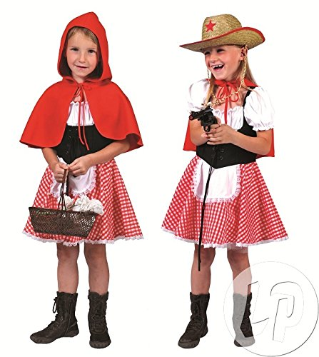 Geschichte Motto Party Kostüm - Pierro´s Kostüm Rotkäppchen Kind Kinderkostüm / Mädchenkostüm Kleid Cape Größe 116 128 140 für Karneval, Fasching, Halloween, Motto Party / Märchen und Geschichten