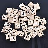 Hot 100 in legno alfabeto Scrabble piastrelle in legno naturale colore lettere e numeri per artigianato in legno 18mm MT0896