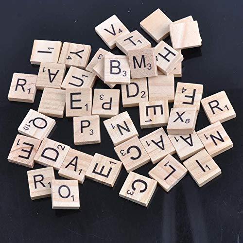 Hot 100 Holz Alphabet Scrabble Fliesen Naturholz farbe Buchstaben & Zahlen Für Handwerk Holz 18mm MT0896