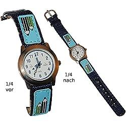Kinderuhr Stifte blau Stoff / Leder Armband - LERNUHR - Uhr Kinder Armbanduhr Schule Analog