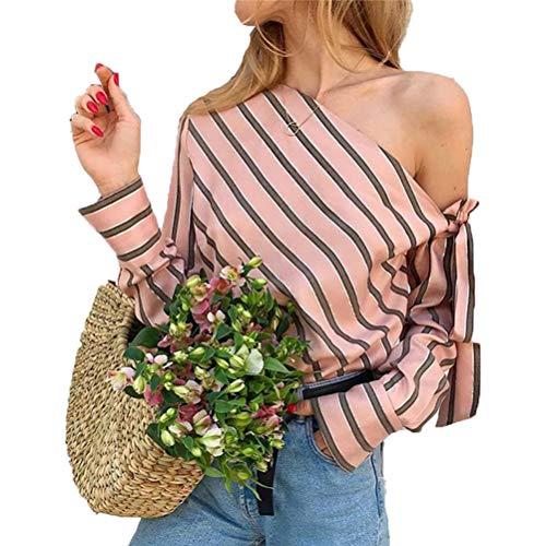 Frauen Slash Neck Striped Lose Bluse Sommer Skew Kragen Langarm Chic Lace Up High Street Lady Schulterfrei Shirts -