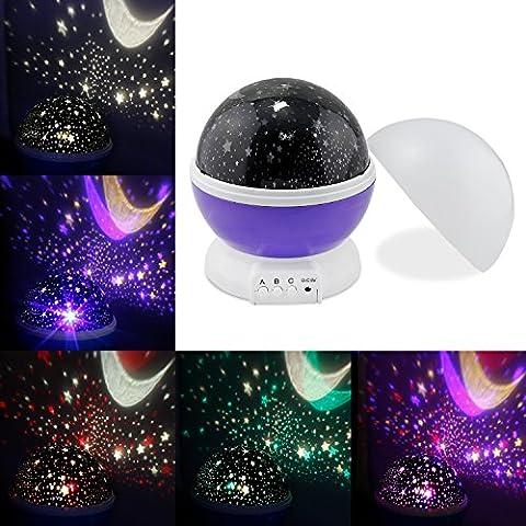 Perlas de Sun And Star Night Lamp Lighting 4 LED Lámpara romántica giratoria de la estrella del cielo de la luna Proyectores Bebé Nursery Dormitorio Cuarto de niños y regalo de Navidad (Purple)