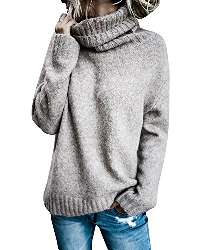 2017 Damen Pullover Damen Langes Hülsen runder Kragen Hülsen Häschen Knit Unterseiten Hemd Strickjacke Khaki DE 46 (Boot Knit Chunky)