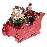 MagiDeal Scatola Ornamento Orologeria Babbo Natale Neve Slitta Musicale Decorazione Casa Tavolo Regalo Legno Rosso Verde