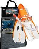 Aquazon Schnorchelset Flipper, Flossen, Schnorchelbrille, Schnorchel incl. Netbag, Orange-Weiss, 31-33,Kinder, Damen