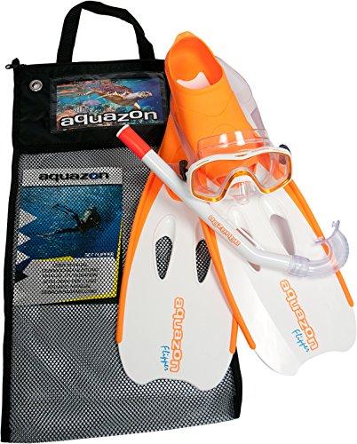 Aquazon Schnorchelset Flipper, Flossen, Schnorchelbrille, Schnorchel incl. Netbag, Orange-Weiss, 34-35, Kinder, Damen