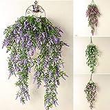 Künstliche Pflanzen, Blumen, Wanddekoration, Lavendelpflanzen, Blumen, Weinrebe, Wand-Girlande, künstliche Efeu, für drinnen und draußen, Hausschmuck, Lavendelimitat, violett, Free Size