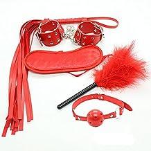 SM Bondage sexuales Kits Fetish Bed Esposas / Pluma / Boca / Látigo / Gafas Traje Abuso de juguetes Sexual para adultos Juguetes sexuales para hombres y mujeres Pink