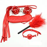 SM Bondage sesso Fetish Bed Kit manette/piuma/Spine a bocca/frusta/occhiali Abuso di fanatici di giochi per adulti giocattoli sessuali per Maschi e Femmine rosa