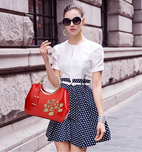 NICOLE&DORIS Damen Handtaschen Umhängetasche Schultertaschen Henkeltaschen Tasche Wasserdicht PU Rot Rote Blume
