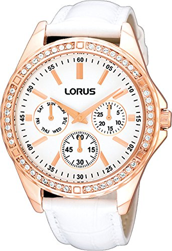Lorus Womens RP646AX9 Rose Gold Plated Crystal Set Strap Quartz Wrist Watch