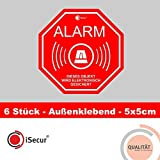 6er Set Alarm-Aufkleber I Hin_164 I 5 x 5 cm I Achtung Objekt Wird elektronisch gesichert I für Fenster-Scheibe, Tür I außenklebend Wetterfest