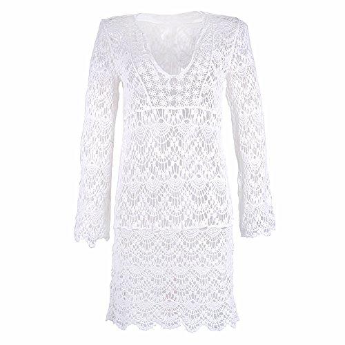 ASSKDAN Damen Boho Weben Einzigartig Bikini Cover Up Sommerkleid StrandKleid Lang - One Size Weiß
