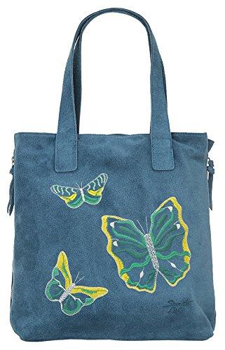 Shopper BUTTERFLY ECHT LEDER blau Damen Mittel - 019023 Samantha Look HYeKO