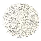 TideTex Rundes kleines Deckchen im ländlichen Stil, gehäkelte Tischdecke aus Handarbeit, Blumendesign, Tischbedeckung, Baumwolle und Spitze, Tischbedeckung, ausgehöhlte Abdeckung, Handtuch, Möbel, Dekomatte, baumwolle, beige, 60cmx60cm