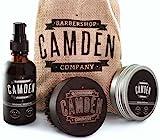 Camden Barbershop Company: Deluxe Bartpflege-Set inkl. Bart-Öl, Bartwachs & Walnussholz-Bartbürste - Geschenk-Set für Männer