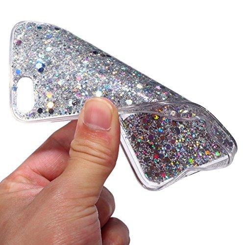 iPhone SE Hülle,iPhone 5S Hülle,iPhone SE/5S Hülle Metall Glitzer,SainCat Hart Metall Hülle für iPhone SE/5S Glänzend Glitzer Diamond Diamant Sparkles Kristall Schutzhülle [Glitzer Strass Ring Stand H Sparkling Silver