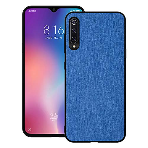 Aidinar Case for Xiaomi Mi 9 SE, Cover for Xiaomi Mi 9 SE Mobile with Fabric Back Cover Hard Case in Shock Resistant Hard Silicone (Blue)