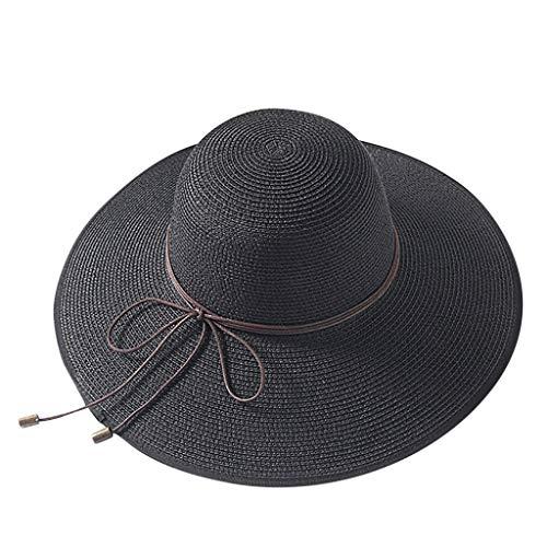 LEEDY ⭐️ 2019 Neu Damen klappbare Kappe flexible Sommer Strand Sonne Hüte Krempe Stroh Faltbar Strohhut Sonnenhüte Aufrollen Packbar UPF 50+ für Sandstrand Urlaub