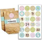 Papierdrachen Adventskalender Set - 24 braune Tüten mit 24 bunten Zahlenaufklebern - zum Selbermachen - Adventskalender zum Befüllen - Mini Set Nr 25