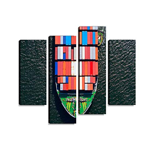 Fieben Kunst Frachtschiff Schleife Premium Leinwanddruck Kunstdruck Wandbild Fotoleinwand Moderne Dekoration für Wohnzimmer Schlafzimmer fertig zum Aufhngen 4 teilig
